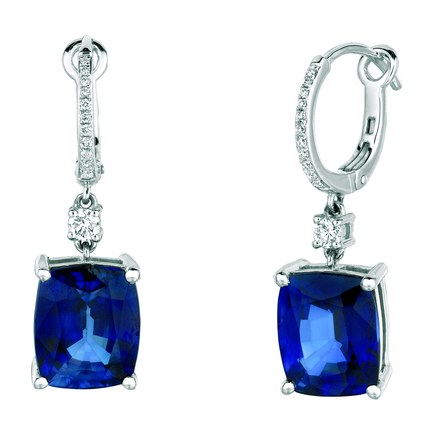 Large Sapphires Dangle Diamond Earrings